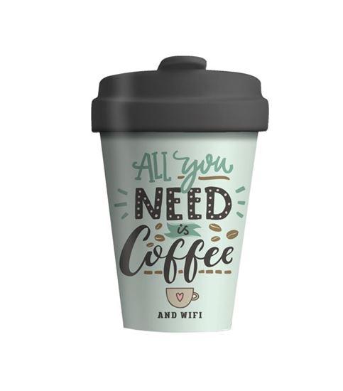 """Εικόνα από KOYΠA ΒΑΜΒΟΟ 400ml """"ALL YOY NEED IS COFFEE"""""""